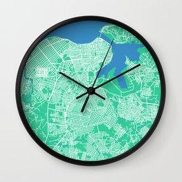LA HABANA Map Cuba | Green | More Colors, Review My Collections Wall Clock