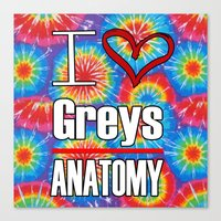 greys anatomy Canvas Prints featuring I love Greys Anatomy by QueenOfAwesome95