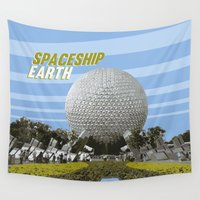 spaceship Wall Tapestries featuring spaceship earth by studiomarshallarts