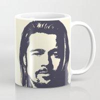 brad pitt Mugs featuring Brad Pitt by Dora Birgis