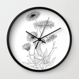 Calendula Flowers Wall Clock