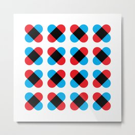 Geometric Pattern 157 (Red Blue Cross) Metal Print