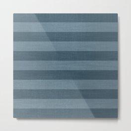 Blue Indigo Denim Stripes Metal Print