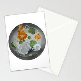 Stilllife with Tropaeolum majus, bird skull and a glass vase Stationery Cards