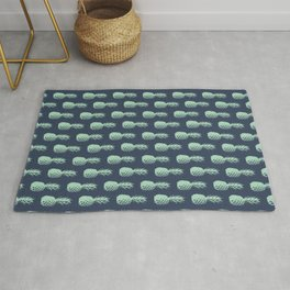 Pineapple Pattern - Dark Blue & Light Green #581 Rug