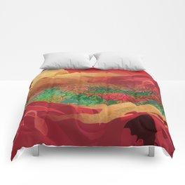 """Tropical golden sunset over fantasy pink forest"" Comforters"