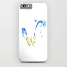 Letter W watercolor - Watercolor Monogram - Watercolor typography - Floral lettering iPhone Case