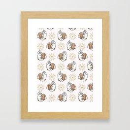 Vector cute bunny hug daisy love hearts Framed Art Print