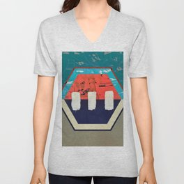 Stitch in Time - hexagon graphic Unisex V-Neck