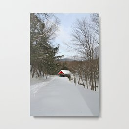 Red covered bridge in a snowy mountain landscape Metal Print