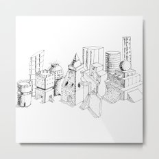 cubes and balls in the city Metal Print