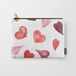 watercolor love pattern with hearts Carry-All Pouch