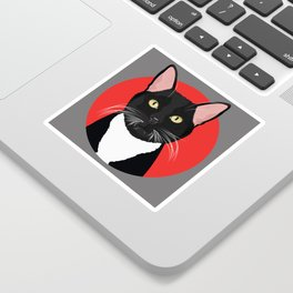 Tuxedo Cat Art Poster by Artist A.Ramos. Designed in Bold Colors. Perfect for Pet Lovers Sticker