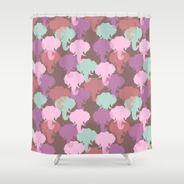 Pastel Elephant Camouflage Pattern Shower Curtain