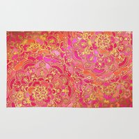 baroque Area & Throw Rugs featuring Hot Pink and Gold Baroque Floral Pattern by micklyn