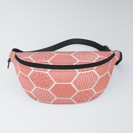 Coral Pink Honeycomb Fanny Pack