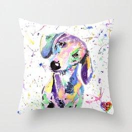 rainbow dog dachshund Throw Pillow
