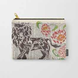 Kings of Africa  (Lion and Protea flowers on dictionary page) Carry-All Pouch