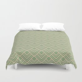 Paris - Classic Green Beige Geometric Minimalism Duvet Cover