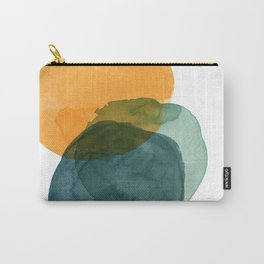 Watercolor Circles in Autumn Shades of Mustard and Teal Carry-All Pouch
