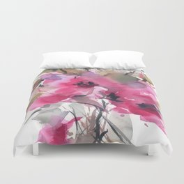 Red Water Blooms Duvet Cover
