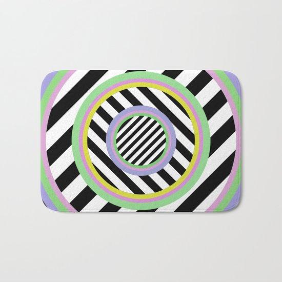 Circles, stripes and pastel colours Bath Mat