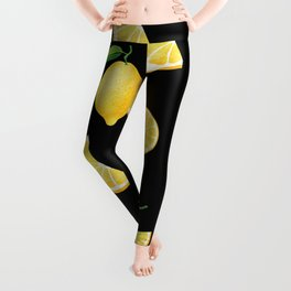 Lemons on Black Leggings