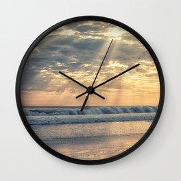 Rays From Above sun rays on Cayucos Beach Wall Clock