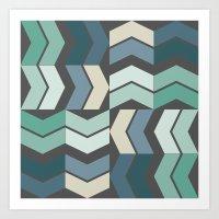 Vintage Geometric Pattern Chevron Blue Green Black Art Print