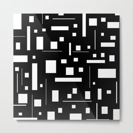 Black & White Geometric Minimal Pattern Futuristic Metal Print