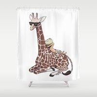 niall Shower Curtains featuring Niall and His Giraffe by Ashley R. Guillory