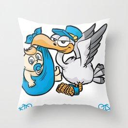 IT S A BOY Blue Stork Baby Binkie Birth Present Throw Pillow