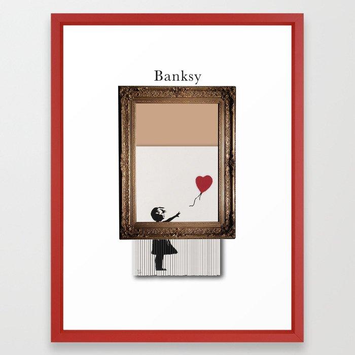 Girl With the Red Balloon Banksy Shredded Framed Art Print