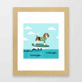 Beagle surfing art cute pet gifts dog lovers beagles Framed Art Print