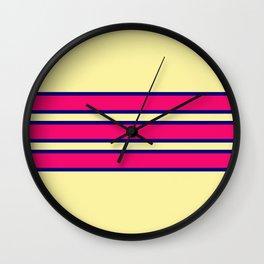 70s Style Pink Retro Stripes Coatlicue Wall Clock