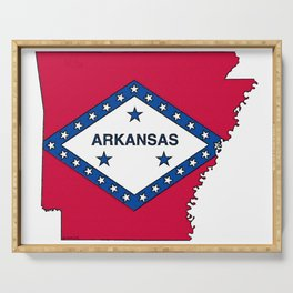 Arkansas Map with Arkansan Flag Serving Tray