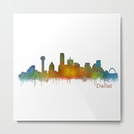 Dallas Texas City Skyline watercolor v02 Metal Print