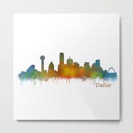 Dallas Texas City Skyline watercolor v02 Metal Print