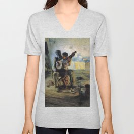 African American Masterpiece 'The Banjo Lesson' by Henry Ossawa Tanner Unisex V-Neck