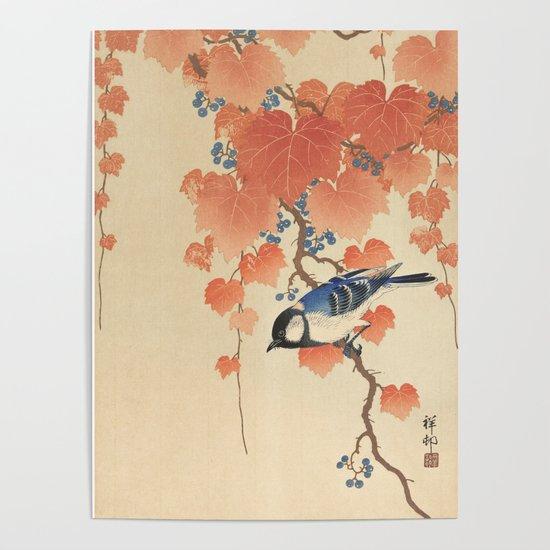 Ohara Koson - Japanese Bird Blockprint by fineearthprints