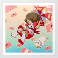 puppycat Art Prints featuring Bee and Puppycat by Artist Meli