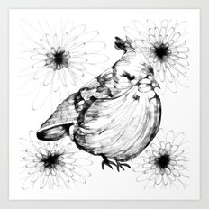 Birdy and Flora Art Print