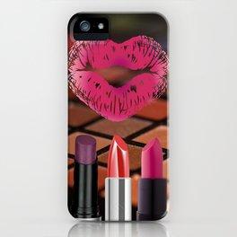 Makeup & Lipstick Heart Shaped Lip Print iPhone Case
