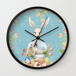 Beautiful Floral Flowers Female Animal Easter Bunny Wall Clock