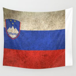 Old and Worn Distressed Vintage Flag of Slovenia Wall Tapestry
