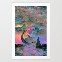 Moonset Art Print