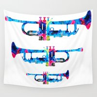 trumpet Wall Tapestries featuring Colorful Trumpet 2 Art By Sharon Cummings by Sharon Cummings