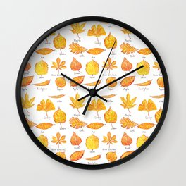 yellow leaves collection Wall Clock