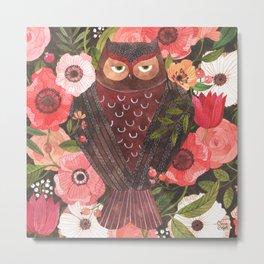 SLEEPY OWL Metal Print