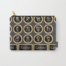 Black and gold buttons and bars depicting the signs of the astrology symbols Carry-All Pouch